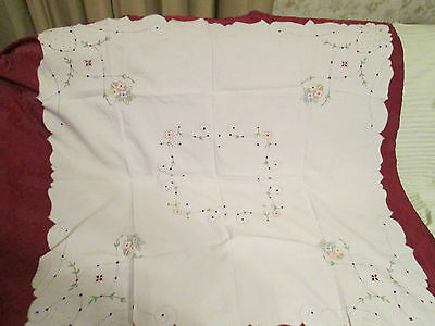 Vintage Cotton Embroidered Floral w/ Cutwork Square Table Topper or Cloth