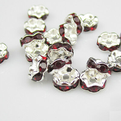 Free shipping NEW jewelry 20pcs 8MM Plated silver crystal spacer beads Red color