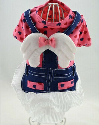 New Small Pet Girl Dog Clothes Apparel Pink Angel Jeans Princess Dress Size XS