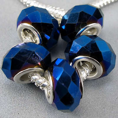 5pc Silver Faceted Darkblue AB Crystal Glass Charm Bead Fit Bracelet Necklace
