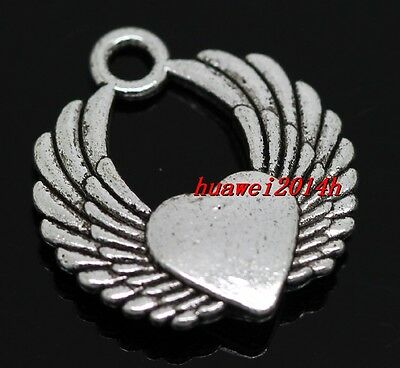 50705Vintage Silver Alloy Winged Heart Shaped Pendant Charm Jewelry Crafts 10pcs