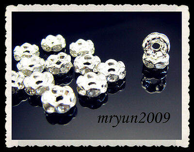 FREE 100PCS Jewelry Making Wavy Crystal Rondelle Spacer Beads Clear Silver 8mm