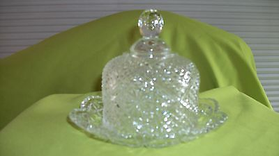 Vintage Clear Glass AVON Round Scalloped Edge Domed Lid Butter Dish Circa 1973