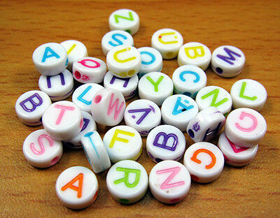 Free 100PCS A~Z 26 letters Jewelry findings acrylic Mixed loose Spacer beads 6mm