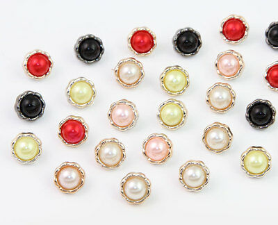 NEW 100 Round Mixed Handmade Lovely Pearl Flower Buttons Clothes Sewing 12mm