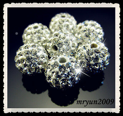 FREE 4PCS Clear Rhinestone Crystal Pave Disco Ball Spacer Bracelets Beads 10mm