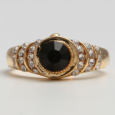 14K Yellow Gold Filled Black Sapphire Women's Jewelry Ring P638 Size7.5