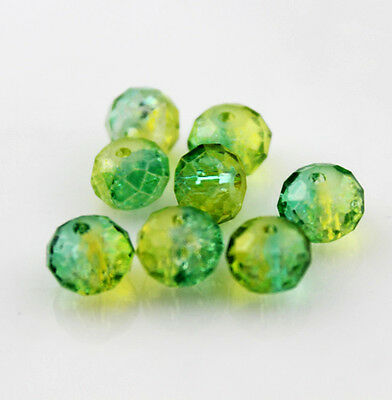 pretty 24pcs 8mm Faceted rondelle Acrylic ice crack Cut glass crystal beads