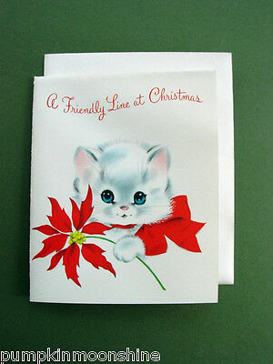 Vintage Unused Xmas Greeting Card of Cat & Poinsettia by Norcross, Adorable