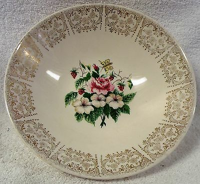 """VINTAGE GLASSWARE--ANTIQUE FLORAL DISH w/DESIGN--7"""" TALL-VERY NICE--GREAT PATINA"""