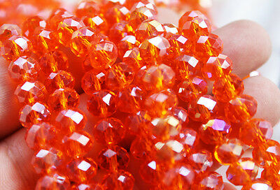 Beautiful 48pcs 8mm Faceted rondelle Cut glass crystal Loose Spacer beads orange