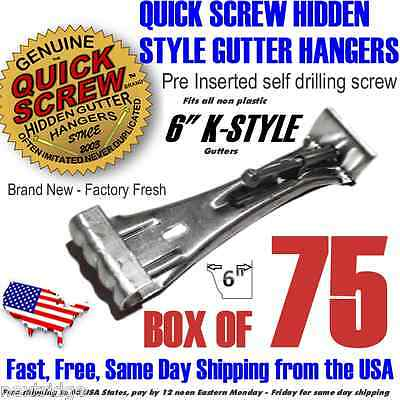 "75 6"" inch Gutter Hangers Quick Screw Hidden Rain Bracket Hook Clip Style Strong"