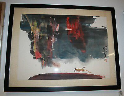 """Framed Matted Signed Original Asian Watercolor Painting 26"""" x 20.5"""""""