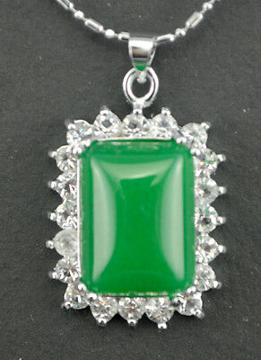 Beautiful green jade + white crystal pendant necklace