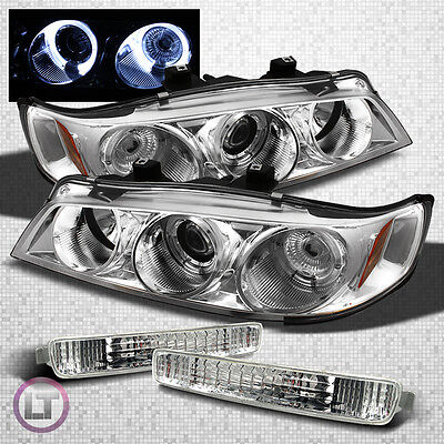 FITS 96-97 ACCORD CLEAR HALO PROJECTOR HEADLIGHTS+EURO CLEAR BUMPER SIGNAL LAMPS