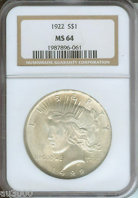 1922 PEACE SILVER DOLLAR S$1 NGC MS64 BEAUTIFUL MS-64 !!!!!
