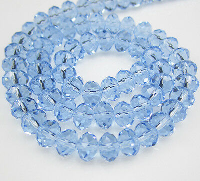 DIY Jewelry Faceted 100pcs Rondelle crystal #5040 3x4mm Beads Light Blue NEW