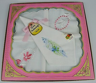 2 original vintage Damen Taschentücher USA 1960 Fruit of the Loom Handkerchiefs