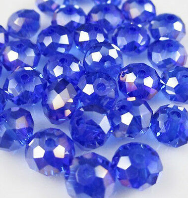 DIY Jewelry Faceted 100pcs Rondelle crystal #5040 3x4mm Beads Blue AB colors NEW