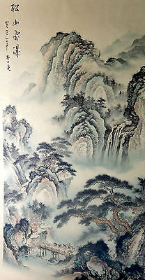 """beautiful """"25wx52h""""signed Watercolor painting -ancient landscape,waterfall"""