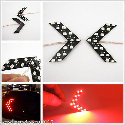 2 x Red Light Arrow Panels 14-SMD LED Turning Signal Indicator Lamps For Honda