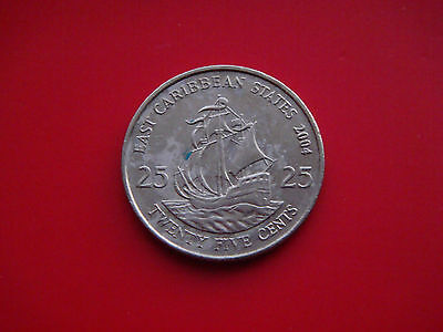 East Caribbean States 25 Cents, 2004 Coin. Sir Francis Drake's Golden Hind