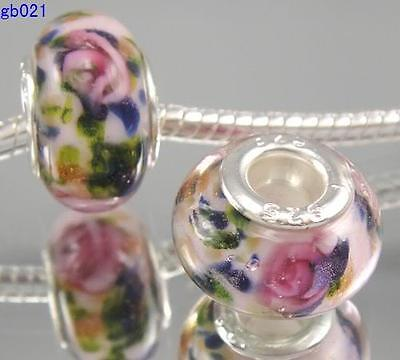 5pcs Lucency Rose Pink Green Lampwork Glass Beads Fit Charms Bracelets DIY Gift