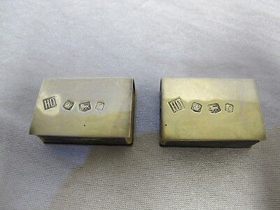 Antique Solid Sterling Silver Match Box Holder Lot 2 Pair Sheffield 1970 P