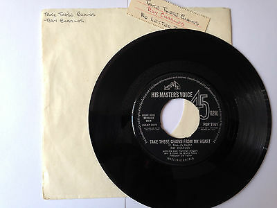 """7"""" RARE VINYL - RAY CHARLES - TAKE THESE CHAINS - MASTERS VOICE  -   pp £1.10"""