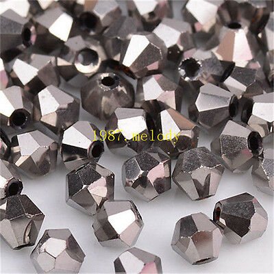100pcs silver Plating exquisite Glass Crystal 4mm #5301 Bicone Beads loose beads