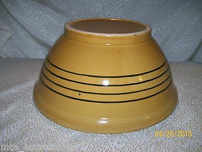 """American General Yellow Ware 8"""" x 3-1/2"""" Mixing Bowl with Dark Blue Striping"""