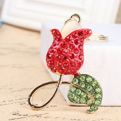 Red Rose Flower Green Leaf Fashion Crystal Charm Key Ring Chain Lover Party Gift