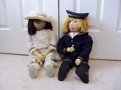 RARE Pair Artist Signed FEATHER STUFFED Dolls~Hand Stitched & Painted~24""