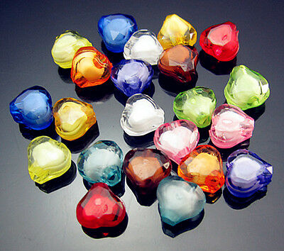 Free TOP 200PCS Mixed color Heart Cut Acrylic LUSTER DIY spacer Loose beads 8mm