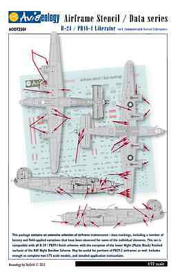 B-24 Liberator Airframe Stencil Data Markings - 1/72 scale Aviaeology Decals