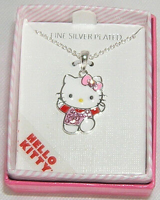 Hello Kitty Necklace Silver Plated Crystal NICE GIFT FREE SHIPPING NIB