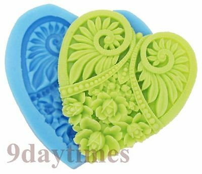 Flat Flower Heart Shape Silicone Mold for Polymer Clay Cake Decorating 52mm