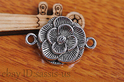 10s 26*18mm Charm flower pendant Diy Jewelry Bead Bracelet Necklace Silver 7103