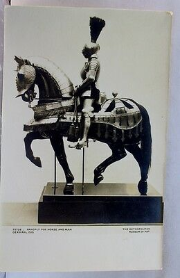 New York NY Metropolitan Museum of Art Panoply Horse Man Postcard Old Vintage PC