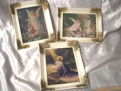 3 PC LOT VINTAGE 1950's PICTURES RELIGIOUS JESUS ANGEL BOY GIRL CHILDRENS BIBLE