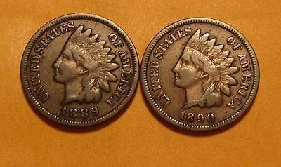 1889 & 1890 Indian Head Cent Penny - Very Good to Fine Condition - 27SU-2