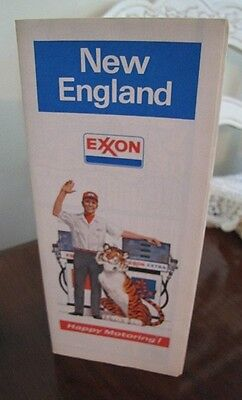 EXXON Tiger Road Map of NORTHERN NEW ENGLAND ~ 1973