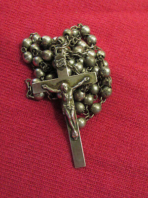 Antique Catholic Religious Medal  -Rosary Beads Sterling Silver