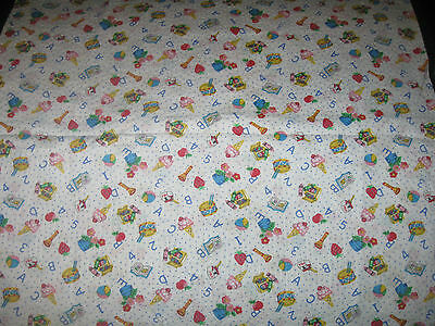 """KIDS MATERIAL,1/2 YARD(44"""" X 18"""") A-B-C's, 1-2-3's, TOYS, WHITE BACKGROUND"""