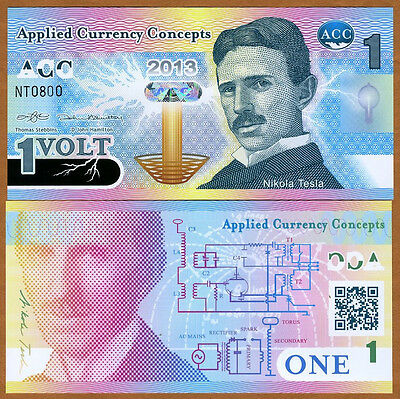 ACC, 1 Volt, 2013, Promotional / Advertising Polymer Note, UNC > Nikola Tesla