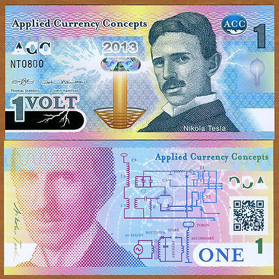 ACC, 1 Volt, 2013, Promotional / Advertizing Polymer Note, UNC   Nikola Tesla