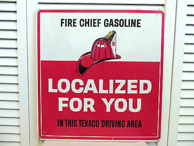 Vintage 1960s Texaco Fire Chief Sign Gas Station Original Oil Co