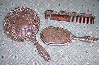VINTAGE ANTIQUE 3 PIECE SILVERPLATED DRESSER VANITY SET, MIRROR COMB AND BRUSH