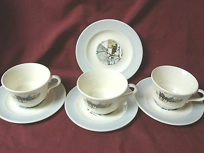 American Limoges, China Dinnerware New Yorker Currier & Ives Gray 3 cup & 4 sauc