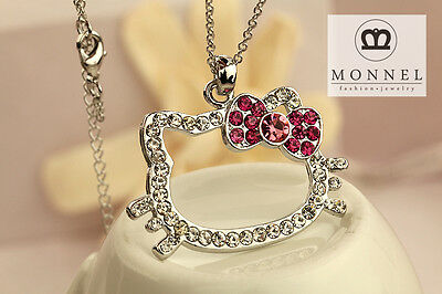 R47 Hello Kitty Pink Crystal Bow Charm Pendant Necklace (+Gift Box)